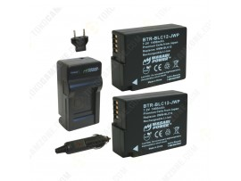 Wasabi Power Battery (2-Pack) and Charger Kit for Panasonic DMW-BLC12